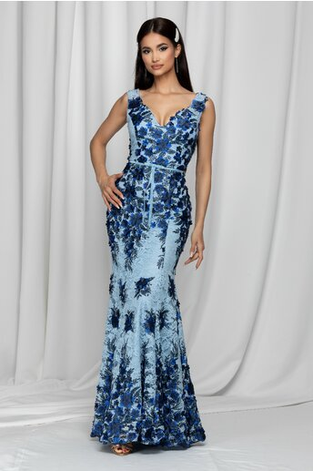 Rochie Gladys bleu decorata cu flori albastre si dantela