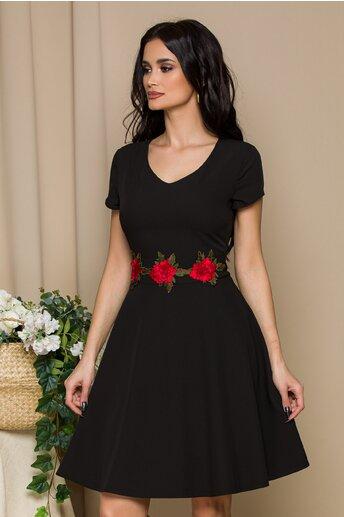 Rochie Gladys neagra cu trandafiri in talie