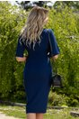 Rochie Gloria albastra cu aplicatii animal print si nasturi fantezie