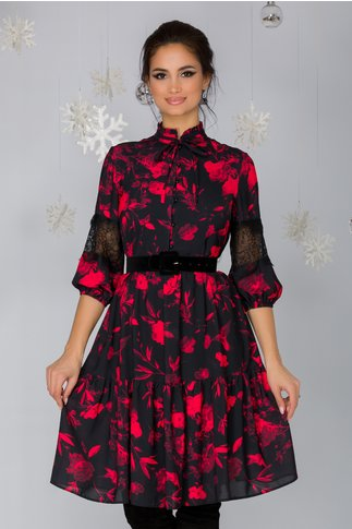 Rochie Gloris neagra cu imprimeu floral rosu