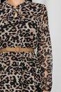 Rochie Grace animal print cu maneci lungi si guler tip tunica