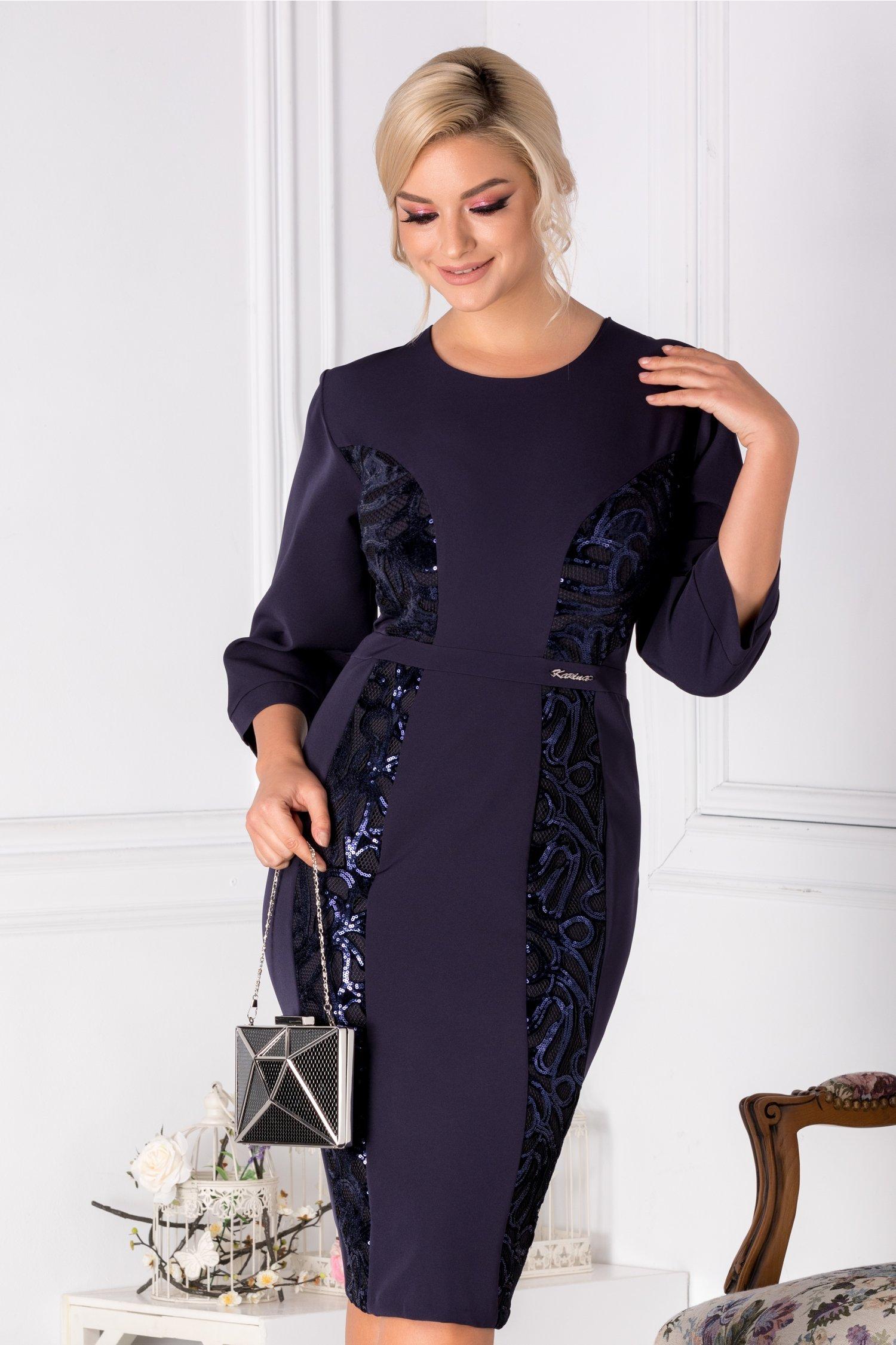 Rochie Grace conica cu paiete bleumarin