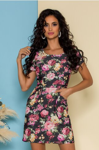 Rochie gri cu imprimeu floral si buzunare