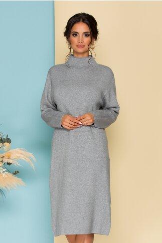 Rochie gri din tricot cu guler pe gat