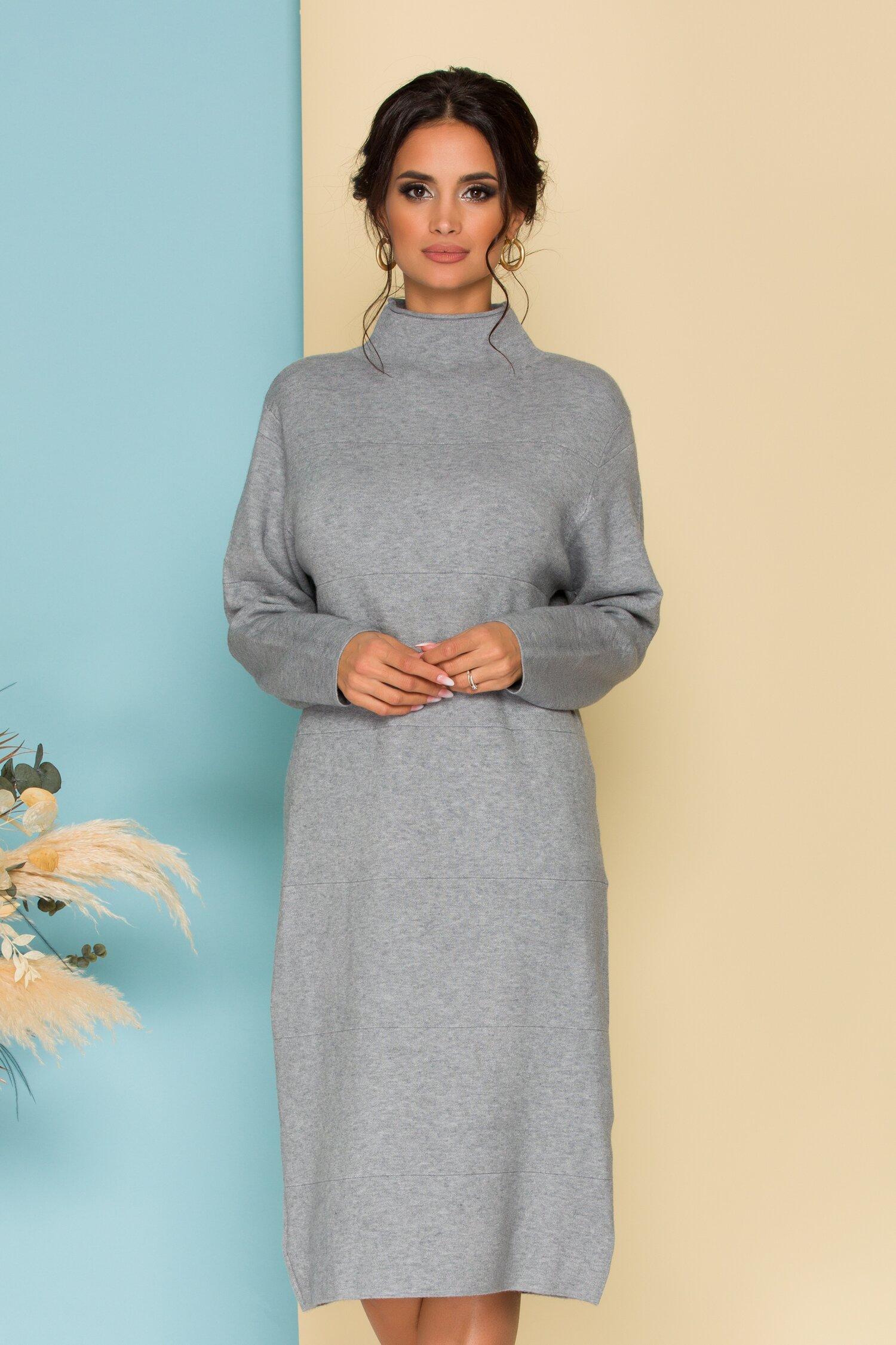Rochie gri din tricot cu guler pe gat imagine
