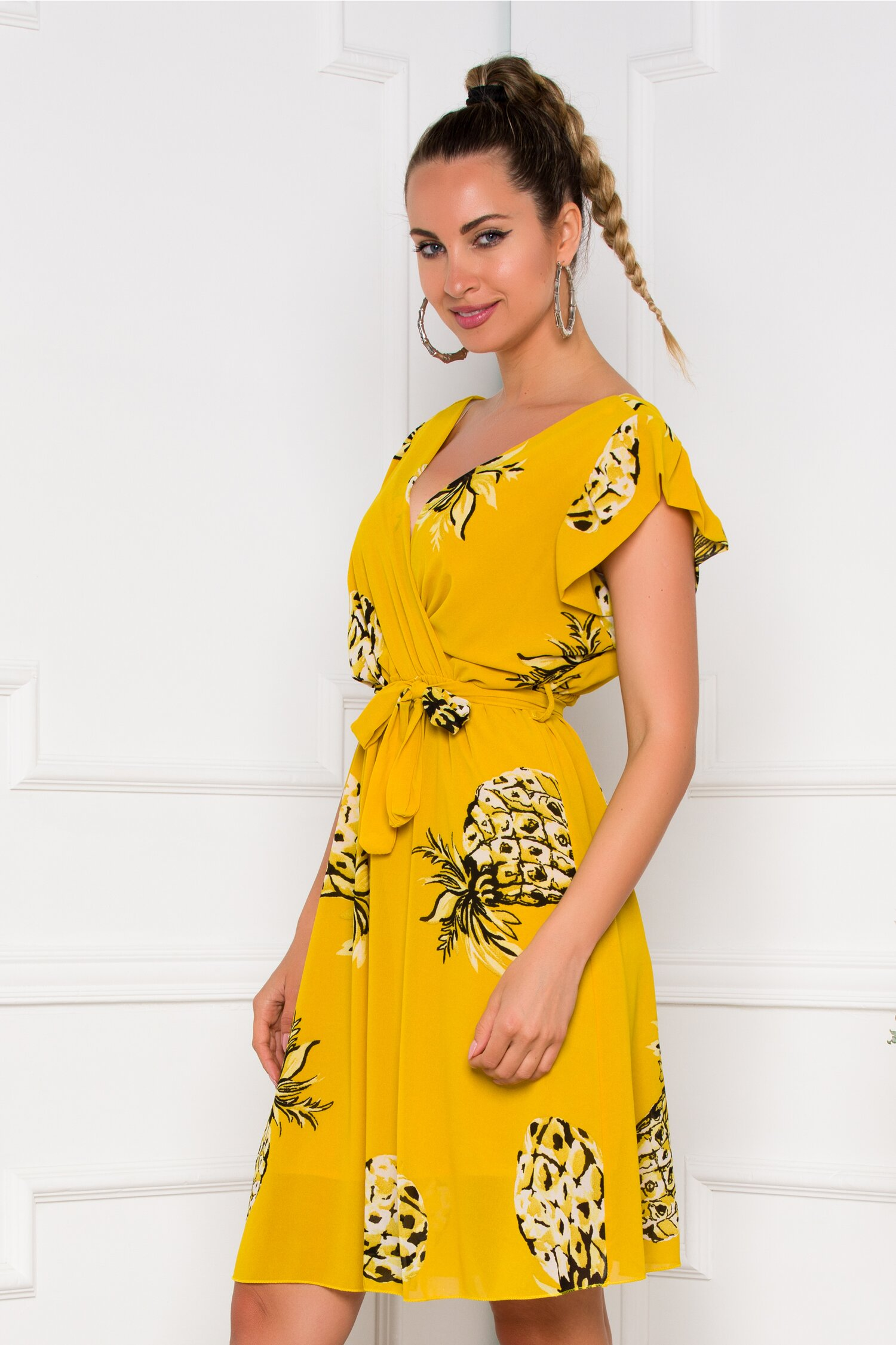 Rochie Guadeloupe galben mustar cu imprimeu ananas imagine