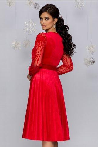 Rochie Gynela rosie din catifea cu centura in talie