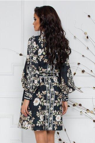 Rochie Hanna neagra cu imprimeu floral in nuante pastelate