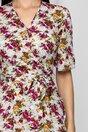 Rochie Hannah alba cu imprimeu floral si snur detasabil in talie