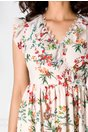 Rochie Havana bej cu imprimeu floral