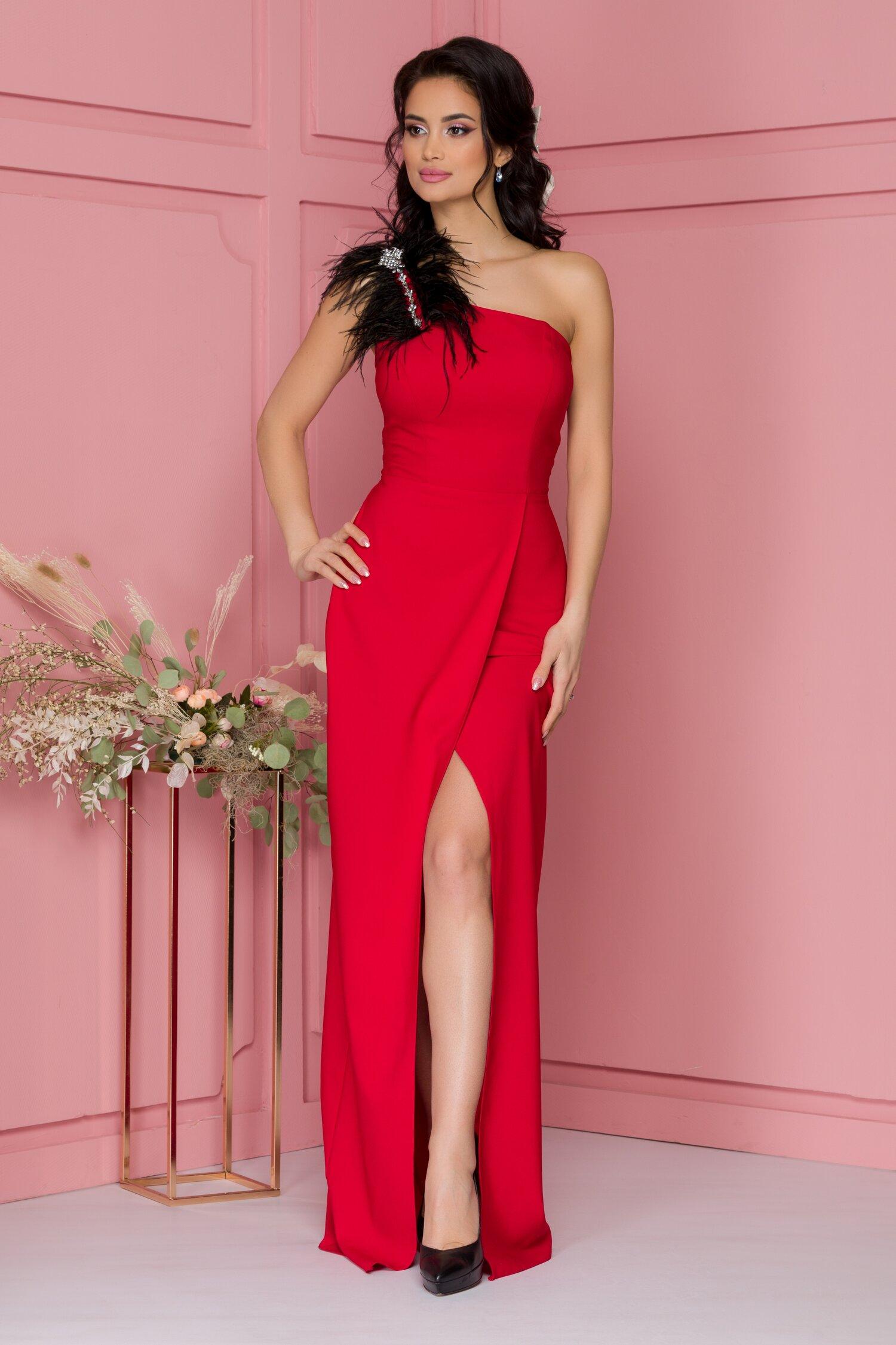 Rochie Heather rosie lunga accesorizata cu pene si strasuri