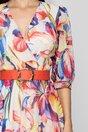 Rochie Helen ivory cu imprimeu floral si curea in talie