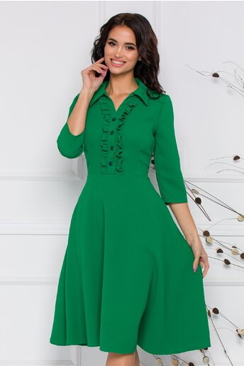 Rochie Helga verde cu volane si nasturi la bust
