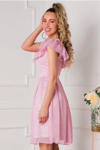 Rochie Hellen roz cu buline mici