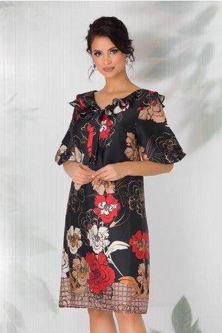 Rochie Hemani neagra cu imprimeu floral si volanase la decolteu