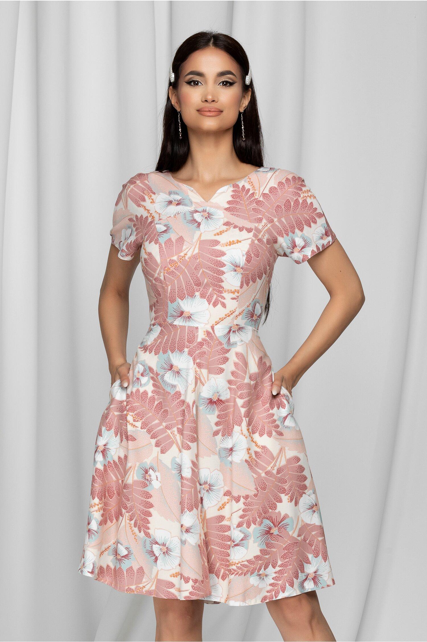 Rochie Herta ivory cu imprimeu floral roz