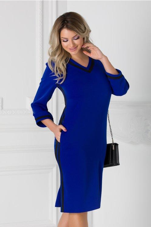 Rochie Holly albastra cu dungi negre