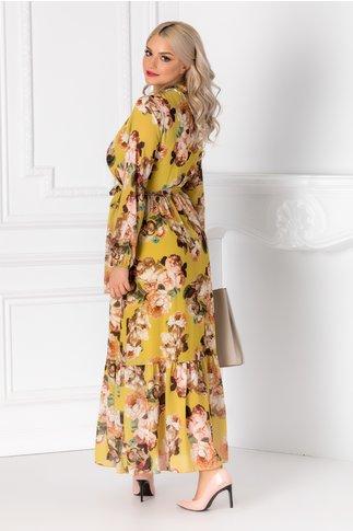 Rochie Holly galbena cu imprimeu floral