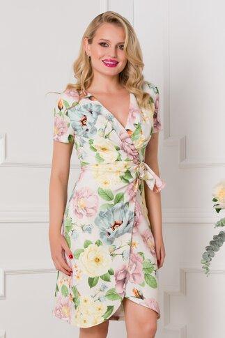 Rochie Iana ivory cu imprimeuri florale pastelate