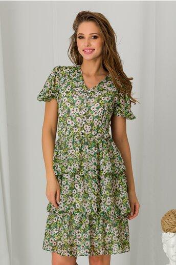 Rochie Iarina verde cu imprimeuri florale