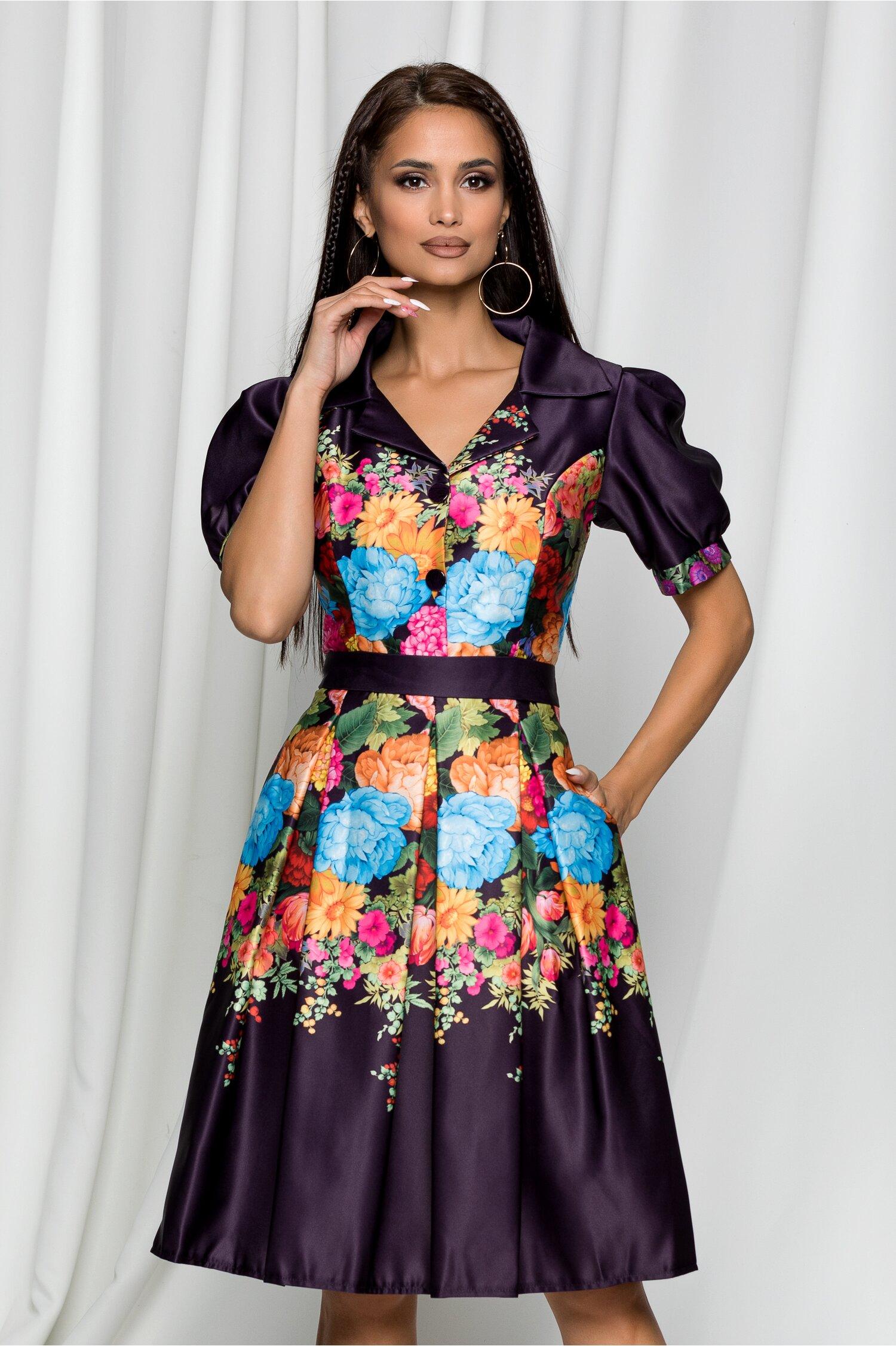 Rochie Iasmina mov cu imprimeu floral multicolor