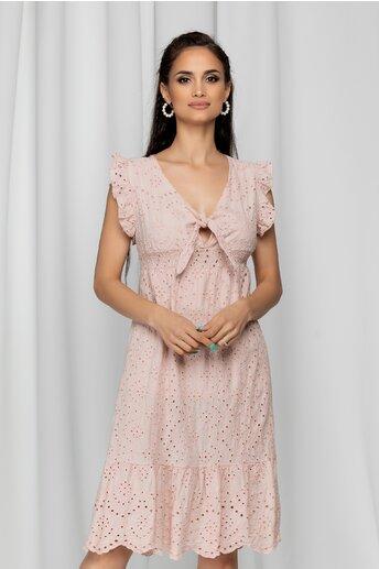 Rochie Ida roz cu nod in zona bustului si model ajurat