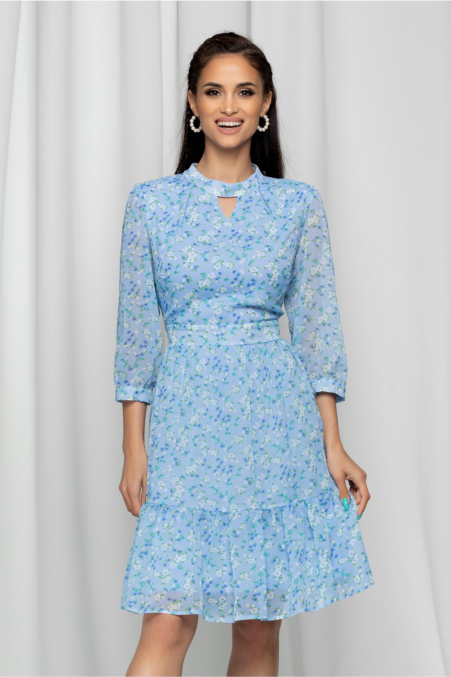 Rochie Idrya bleu cu imprimeu floral si volanas la baza