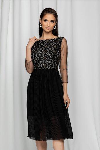 Rochie Ilaria neagra cu pliuri pe fusta si paiete