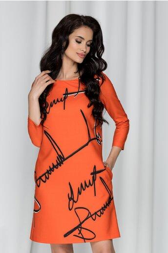 Rochie Ileana portocalie cu imprimeu text
