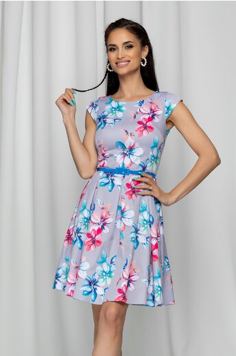 Rochie Ilknur gri cu imprimeu floral si pliuri mari