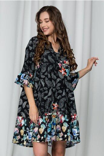 Rochie Ilona neagra cu flori colorate