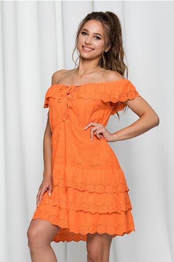 Rochie Ilona portocalie cu model ajurat si volanase