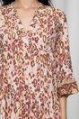 Rochie Ilona roz cu animal print maro
