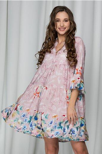 Rochie Ilona roz cu flori colorate