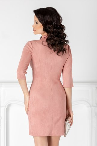Rochie Ilona roz pudra stil sacou