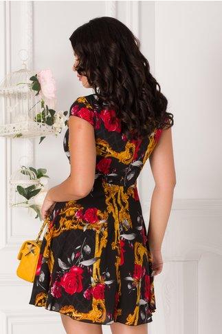 Rochie Ilona scurta din voal neagra cu trandafiri
