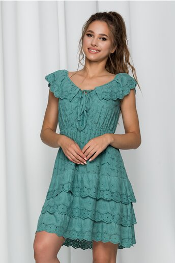 Rochie Ilona verde cu model ajurat si volanase