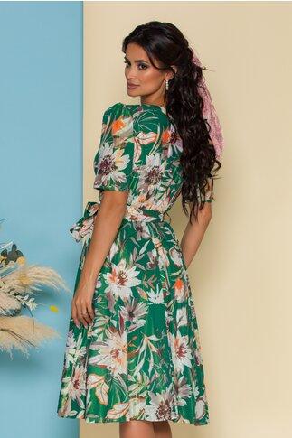 Rochie Ilona verde cu refexii si imprimeu floral