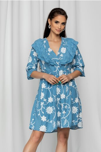 Rochie Ina albastra cu model ajurat si spatele gol