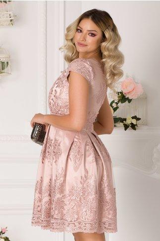 Rochie Ingrid roz prafuit cu dantela florala