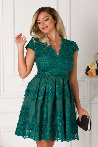 Rochie Ingrid verde cu dantela florala cu reflexii argintii