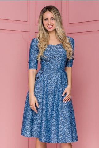 Rochie Ioana albastra cu flori si buzunare