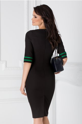 Rochie Ioana neagra cu benzi verzi si fronseuri in talie