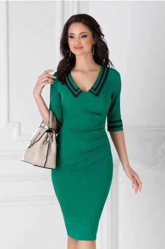 Rochie Ioana verde cu benzi negre si fronseuri in talie