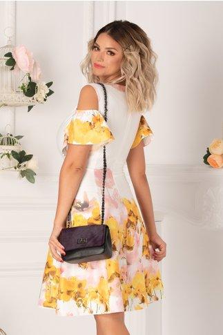 Rochie Ionela alba cu imprimeu floral colorat in nuante de galben si roz si maneci decupate