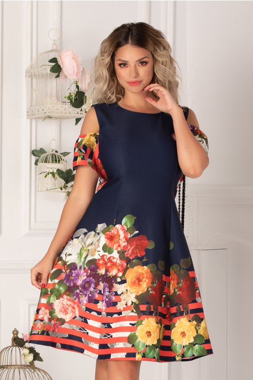 Rochie Ionela bleumarin cu imprimeu floral colorat, dungi corai si maneci decupate