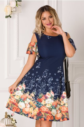 Rochie Ionela bleumarin cu imprimeu floral colorat si maneci decupate