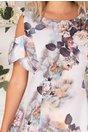 Rochie Ionela cu imprimeu floral in nuante pastelate si maneci decupate