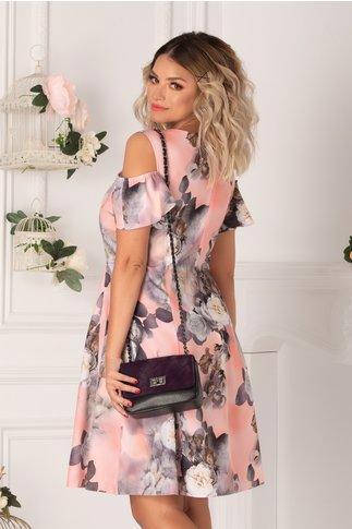 Rochie Ionela somon cu imprimeu floral in nuante de gri si maneci decupate