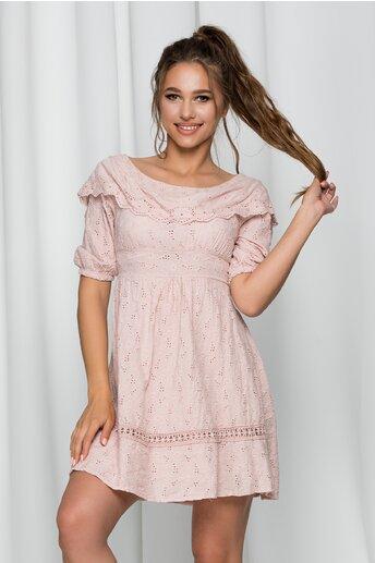 Rochie Iovana roz pal cu spatele gol si model ajurat